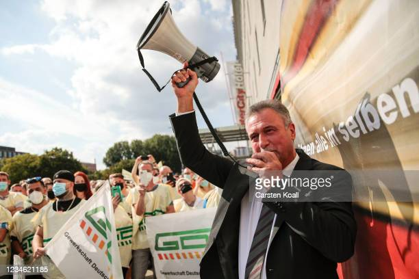 National Chairman of the German train drivers union Claus Weselsky speaks to unionists of the train drivers' union GDL during a railway strike that...