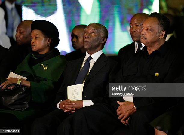 National chairperson Baleka Mbete, former president Thabo Mbeki and Reverend Jesse Jackson at the official send-off for Nelson Mandela at the...