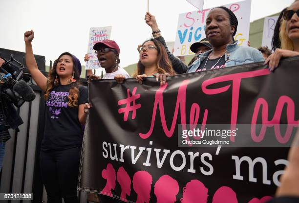 National Chairperson Ivy Quicho March organizer Brenda Gutierrez and #MeToo campaign founder Tarana Burke seen at the #MeToo Survivors March Rally on...