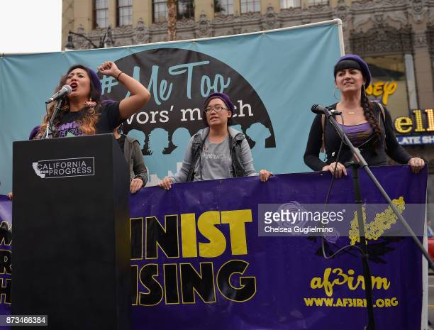 National Chairperson Ivy Quicho speaks at the #MeToo Survivors March Rally on November 12 2017 in Hollywood California
