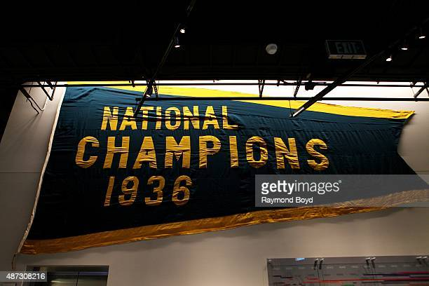 National Champions banner hangs inside the Green Bay Packers 'Hall Of Fame' inside the Lambeau Field atrium on August 31 2015 in Green Bay Wisconsin