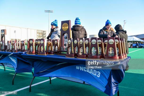 National championship trophies are seen following the Division III Women's Field Hockey Championship held at Spooky Nook Sports on November 24 2019...