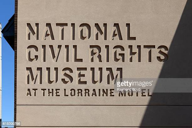 National Civil Rights Museum at the Lorraine Motel signage in Memphis Tennessee on October 3 2016