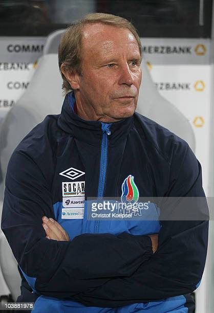 National coach Berti Vogts of Azerbaijan looks on during the EURO 2012 Group A Qualifier match between Germany and Azerbaijan at RheinEnergie stadium...