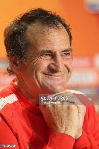 National coach Bruno Bini of France attends the France Women national team press conference at RheinNeckar Arena on June 25 2011 in Sinsheim Germany
