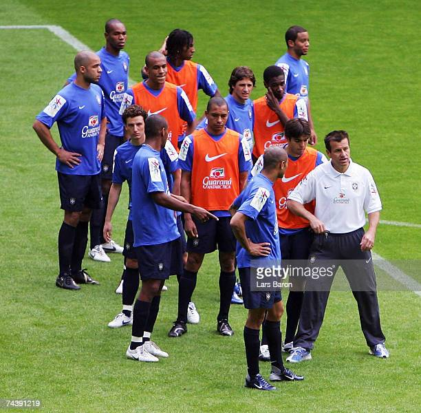 National coach Carlos Dunga gives instructions to Kaka during a Brazil National Team training session at the Signal Iduna Park on June 4, 2007 in...