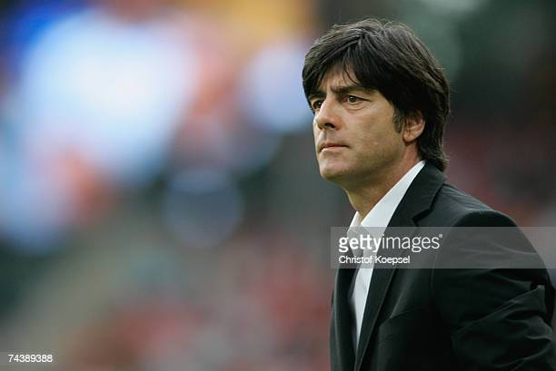 National coach Jaochim Low of Germany looks on before the UEFA EURO 2008 qualifier between Germany and San Marino at the Easy Credit stadium on June...