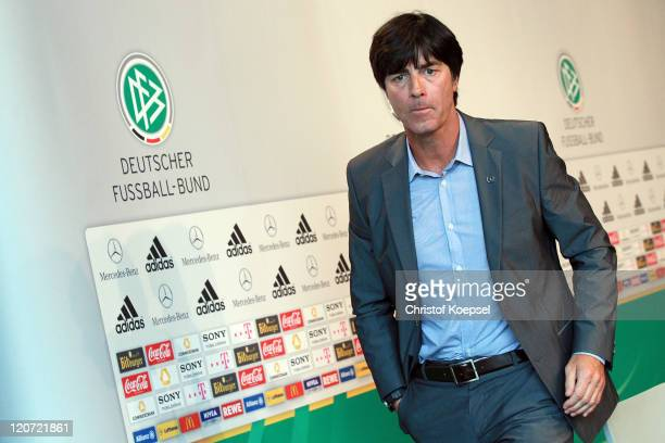 National coach Joachim Loew attends a press conference of the German National football team at MercedesBenz Museum on August 9 2011 in Stuttgart...