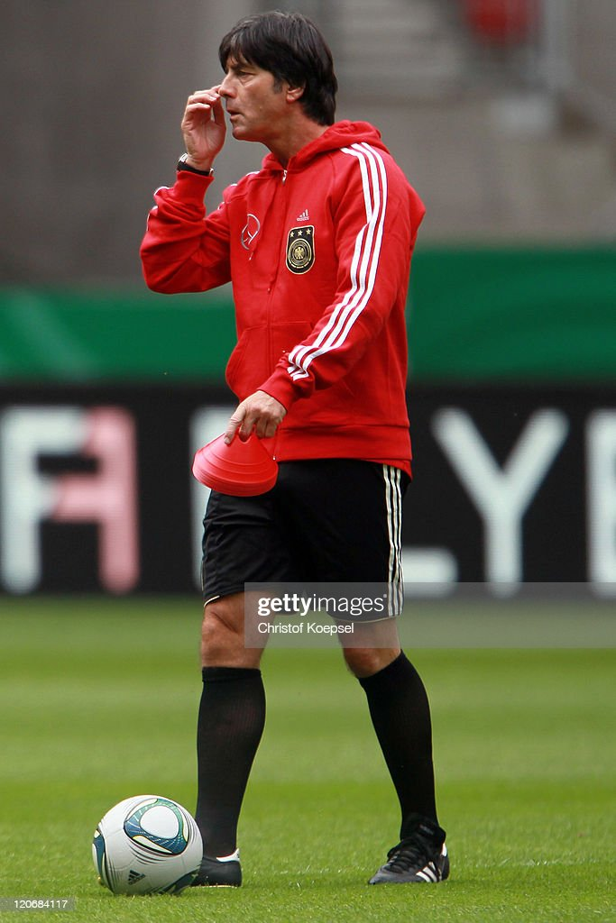 National coach Joachim Loew attends a training session of the German National football team at Mercedes-Benz Arena on August 8, 2011 in Stuttgart, Germany. Germany will play a friendly match against Brazil at Mercedes-Benz Arena on August 10, 2011 in Stuttgart, Germany.