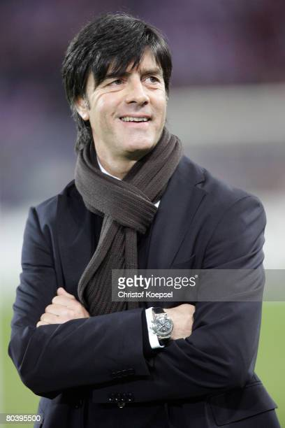 National coach Joachim Loew of Germany looks on before the international friendly match between Switzerland and Germany at the St JakobPark on March...