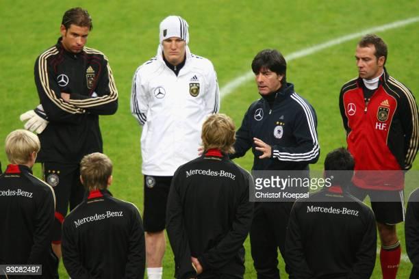 National coach Joachim Loew speaks to Andreas Beck Tim Wiese Marko Marin Bastian Schweinsteiger Stefan Kiessling Piotr Trochowski and assistant coach...
