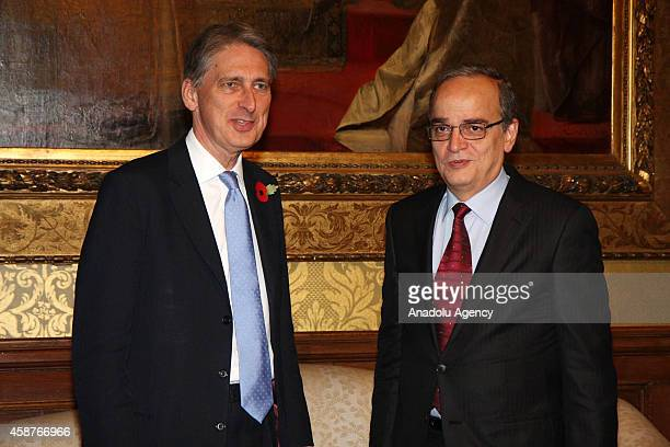 National Coalition for Syrian Revolutionary and Opposition Forces President Hadi Al Bahra and British Foreign Secretary Philip Hammond meet at the...