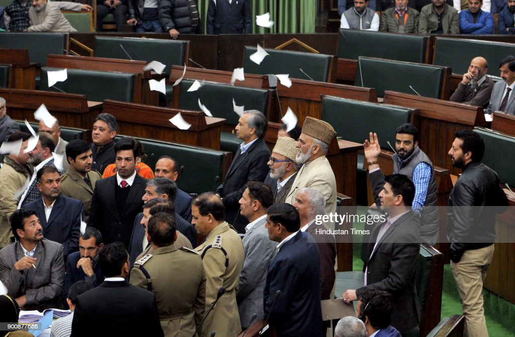 National Conference and Congress MLA's protesting inside the J&K Legislative assembly during the budget session on January 3, 2018 in Jammu, India.