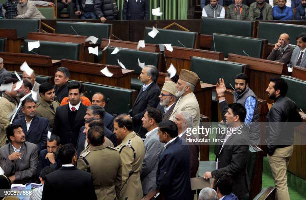 National Conference and Congress MLA's protesting inside the JK Legislative assembly during the budget session on January 3 2018 in Jammu India