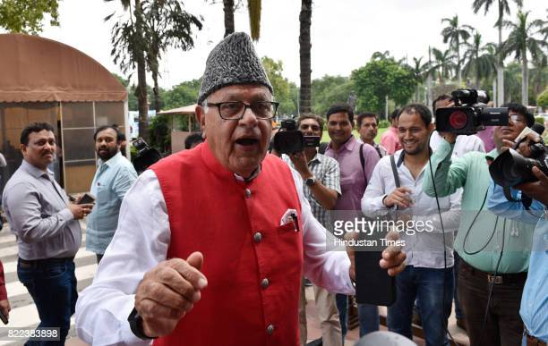 National Conference leader Dr Farooq Abdullah arrives for the swearingin ceremony of President Ram Nath Kovind at Parliament on July 25 2017 in New...