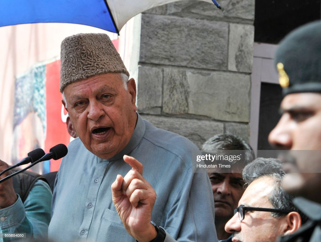 National Conference Patron and President Farooq Abdullah during an election rally after filling his nomination paper for parliamentary elections on March 20, 2017 in Srinagar, India.
