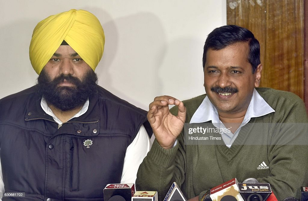 National Convener and Delhi Chief Minister Arvind Kejriwal along AAP candidate from Majitha constituency addressing media persons on December 30 2016.