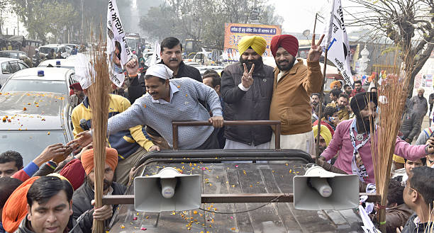 National Convener and Delhi Chief Minister Arvind Kejriwal candidate from Majitha constituency Himmat Singh Shergill State Convener Gurpreet Ghuggi...