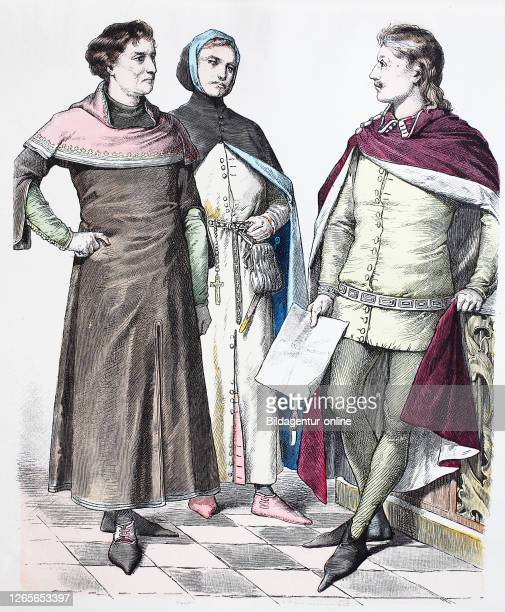 National costume, clothes, history of the costumes, businessmen and nobleman, England, in 1350, Volkstracht, Kleidung, Geschichte der Kostüme,...