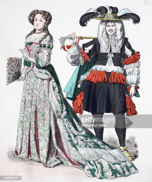 National costume, clothes, history of the costumes, clothes of Marie Anna von Bayern as a crown princess of France, in 1679 and young Elegantly from...