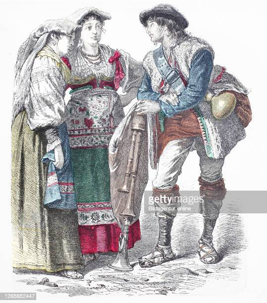 National costume, clothes, history of the costumes, Genzano and a Pifferario from the neapolitsnischen Apennines, Italy, in 1880, Volkstracht,...