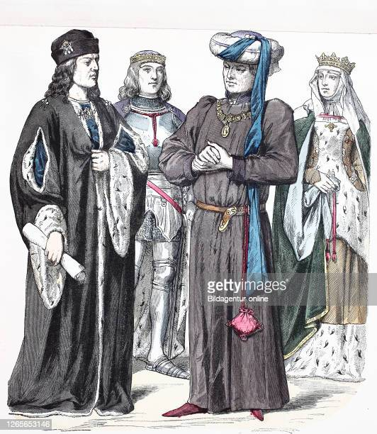 National costume, clothes, history of the costumes, national costume of Heinrich VII, Herzog of Suffolk, Heinrich VI, duchess of Suffolk, England,...