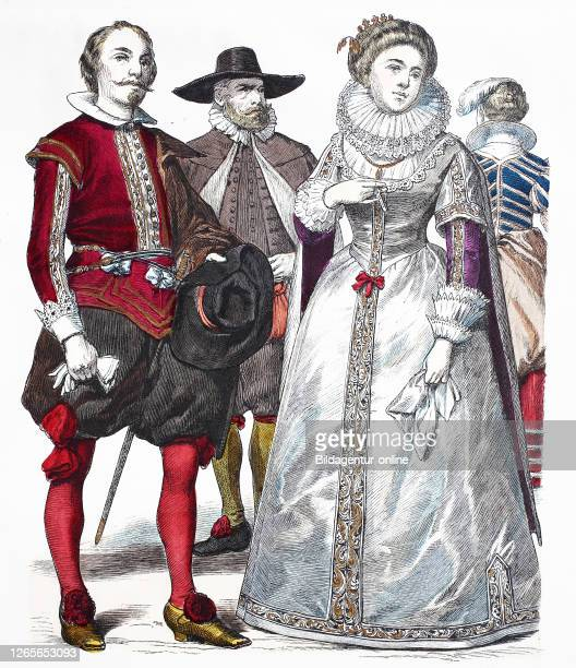 National costume, clothes, history of the costumes, noble James Marquis of Hamilton, citizen, Francis Herzogin of Richmond, national costumes from...