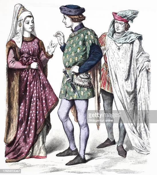 National costume, clothes, history of the costumes, noblemen, England, in 1400-1430, Volkstracht, Kleidung, Geschichte der Kostüme, Edelleute,...