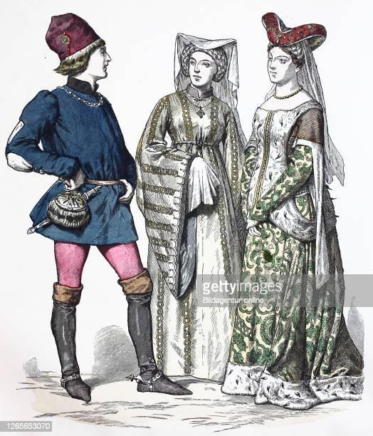 National costume, clothes, history of the costumes, noblemen, England, in 1400, Volkstracht, Kleidung, Geschichte der Kostüme, Edelleute, 1400.