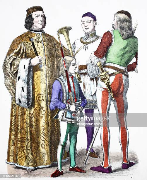 National costume, clothes, history of the costumes, Podesta, church supervisor and soldier, national costumes from Italy, 15th century, Volkstracht,...
