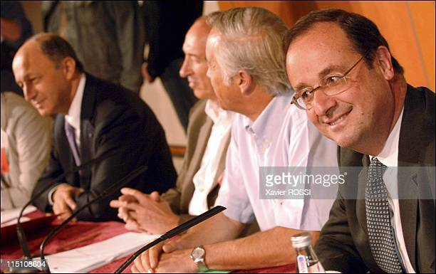 National Council of the Socialist Party at the left Forum Bank in Paris France on June 04 2005 Laurent Fabius Gerard Collomb Francois Rebsamen and...