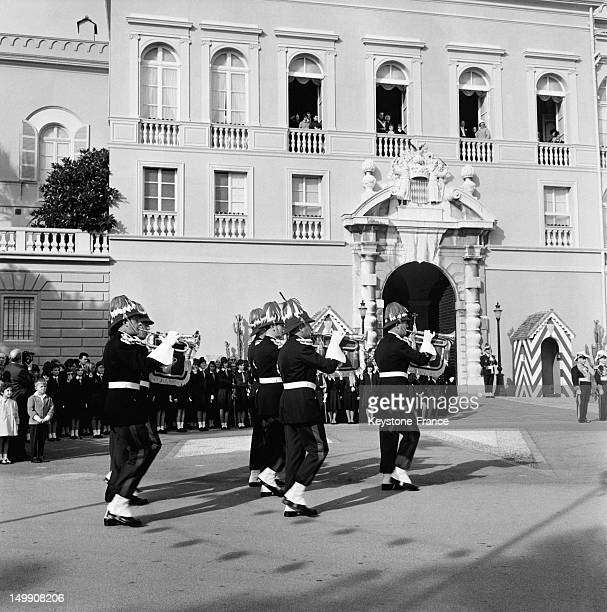 National day ceremony in Monaco in front of the Palace on November 19 1963 in Monaco
