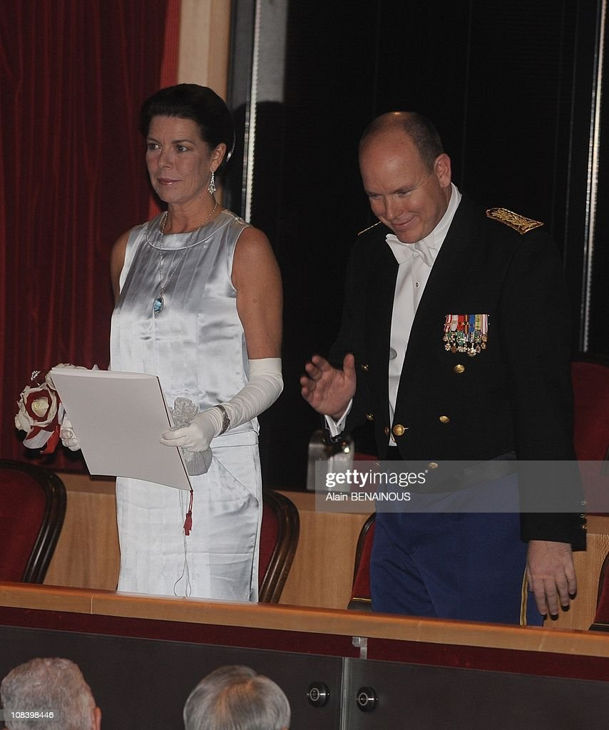 National Day in Monaco. Prince Albert of Monaco and Princess Caroline attend at the Gala at the Grimaldi Forum in Monte Carlo, Monaco on November 19th, 2009. : News Photo