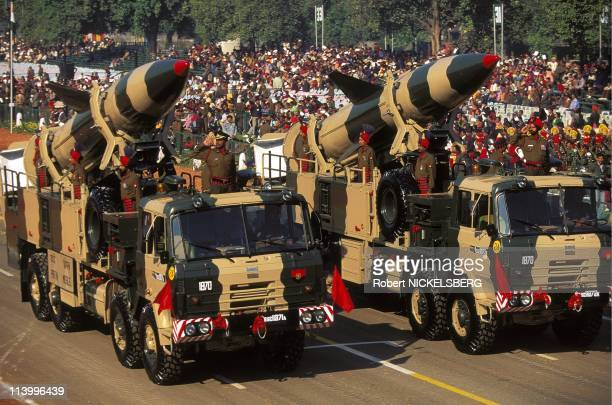 """National Day In New Delhi, India On January 26, 1996-Indian """"Prithvi"""" Missile."""