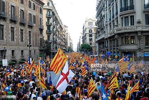 national day of catalonia - england flag stock photos and pictures