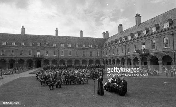 National Day of Commemoration of the War Dead President Patrick Hillery laying a wreath at the Royal Hospital Kilmainham