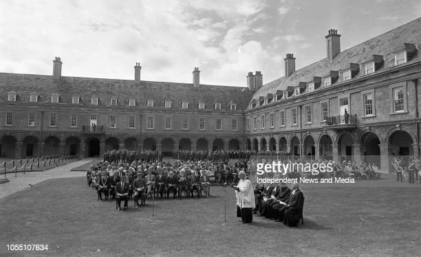 National Day of Commemoration of the War Dead, President Patrick Hillery laying a wreath at the Royal Hospital, Kilmainham, . .