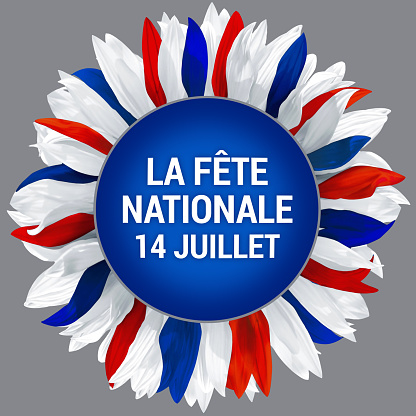 National day of France. Circle frame with petals in colors of France flag 1148142156