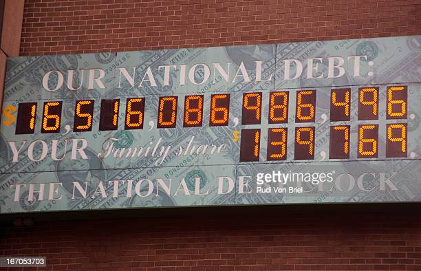 national debt clock - national debt clock stock photos and pictures
