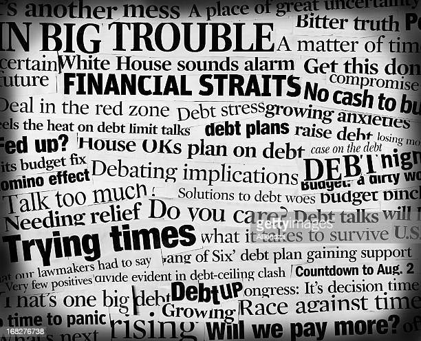 u.s. national debtcollage - front page stock photos and pictures