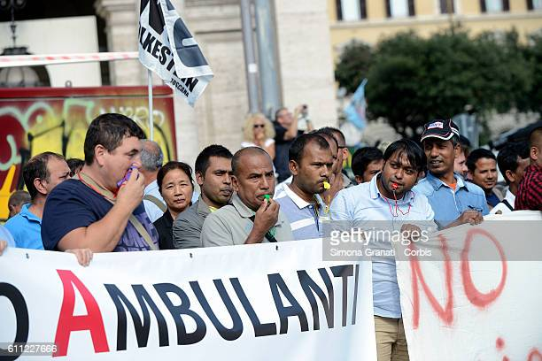 National demonstration of street vendors against the Bolkestein Directive on September 28 2016 in Rome Italy