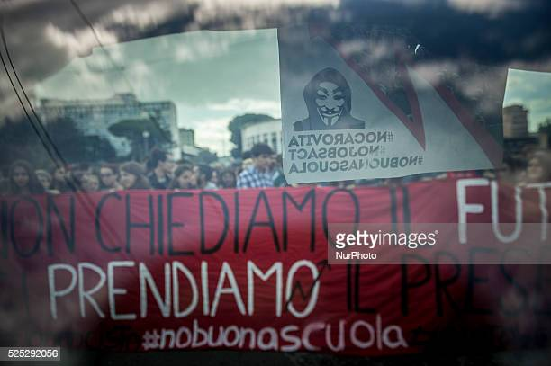 National demonstration of students against the new school reform, La Buona Scuola, in Rome on October 2, 2015.