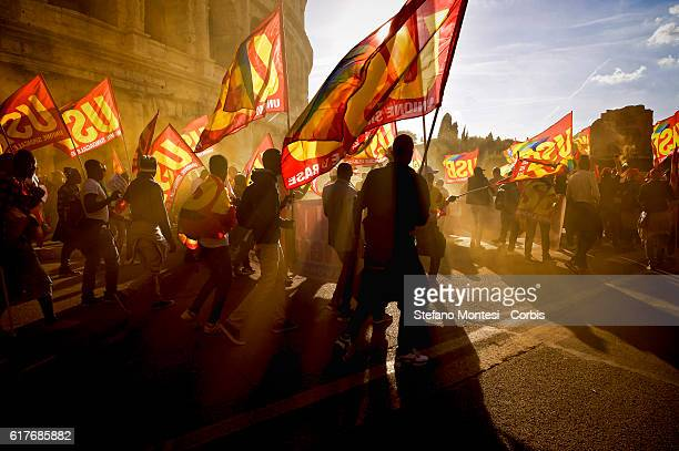 National demonstration organized by the Basic Trade Union through the streets of Rome to protest Prime Minister Matteo Renzi's government politics...