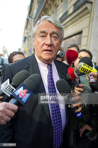 National Deputy Claude Goasguen addresses the media at UMP headquarters for a Parisians Representatives meeting on October 24 2011 in Paris France...