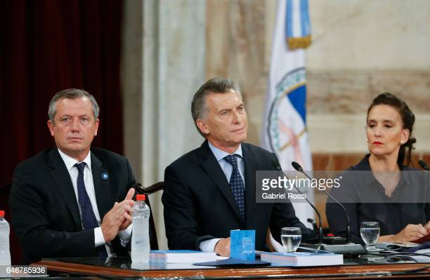 National Deputy Emilio Monzo, President of Argentina Mauricio Macri and Vice President Gabriela Michetti look on during the inauguration of the 135th...