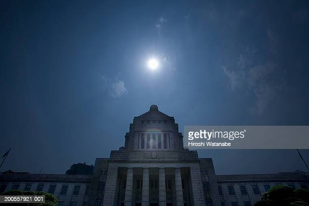 National diet building at night, low angle view