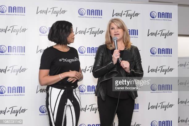 National Director of Strategic Partnerships for NAMI Katrina Gay speaks as Taraji P Henson and NAMI celebrate Lord Taylor Charity Days on January 12...