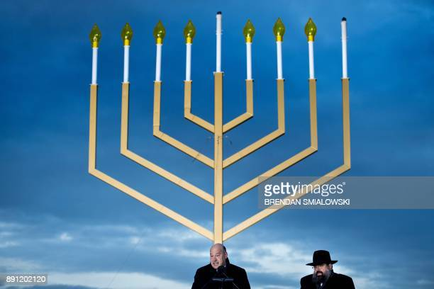 National Economic Council Director Gary Cohn speaks during the National Chanukah Menorah lighting on the Ellipse December 12 2017 in Washington DC /...