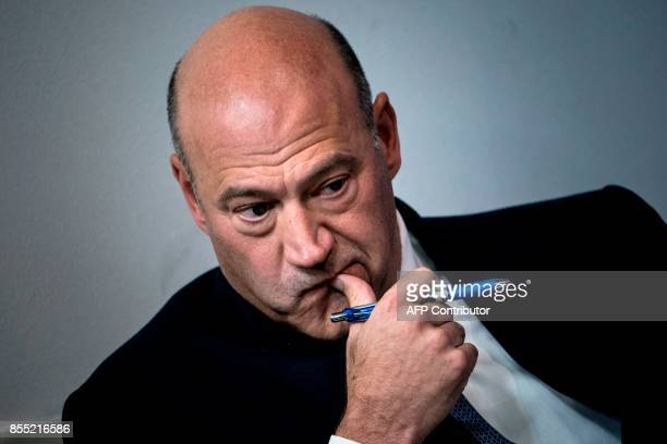 National Economic Council Director Gary Cohn waits to speak about tax reform during a briefing at the White House September 28 2017 in Washington DC...