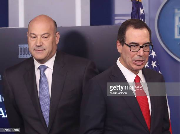 National Economic Director Gary Cohn and Secretary of the Treasury Steven Mnuchin speak during a briefing about President Trump's new tax plan at the...